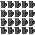 "Brooklyn Pipe 3/4"" Pipe Tee Cast Iron Pipe Fitting 3/4 Inch Malleable Iron Pipe Tees, Threaded Pipe fittings for Industrial Pipe Shelf and Steampunk Projects, 20 Pack"