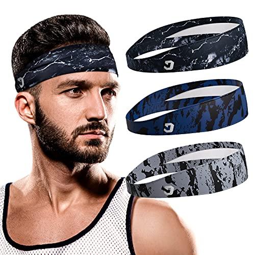 Vinsguir Sports Headbands for Men - Lightweight Mens Headband Sweat Band, Moisture Wicking Workout Head Band Sweatband, Gym Accessories for Running Cross Training Tennis Yoga, Unisex Hairband