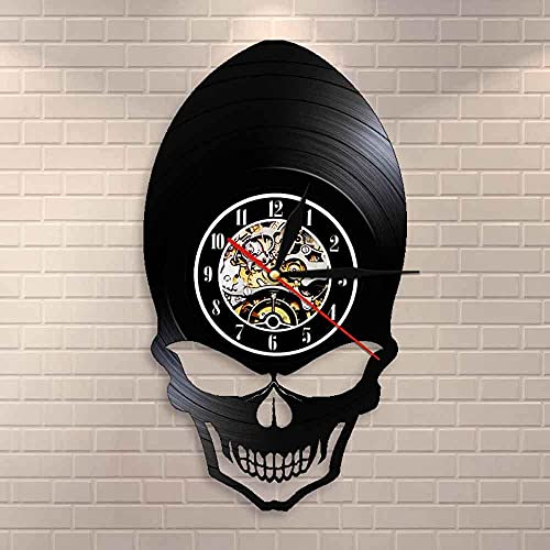 LED de colores Reloj de pared de vinilo Demon Alien Skull Reloj Retro Reloj Gótico Scary Bone Eye Esqueleto Retro Disco de vinilo Reloj de pared Decoración de pared de Halloween