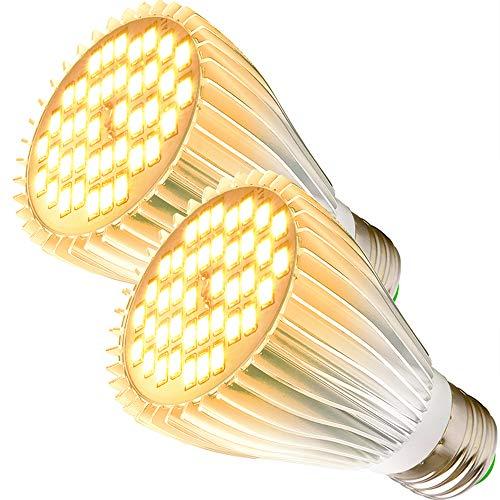 MILYN Led Pflanzenlampe, 2 Pack 40 LEDs Sonnenlichts Vollspektrum Pflanzenlampen E27 30W Led Grow Lampe für Zimmerpflanzen, Hydrokultur Gewächshaus Sukkulenten GemüSe und Blumen