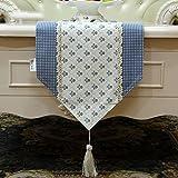 Nordeuropa Tischläufer Alle Baumwolltisch Flagge Kleine Blume mit Quaste ( Farbe : Blau , größe : 30*220cm )