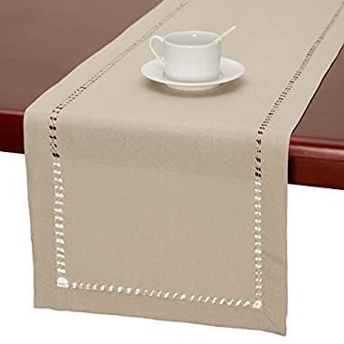Handmade Hemstitched Polyester Rectangle Table Runners,Beige 14x90 inch