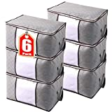 JERIA 6-Pack 90L Large Capacity Storage Bins with Clear Window, Closet Organizer and Clothes Storage Bags, 3 Layers Fabric, Reinforced Handle and sturdy zipper (Size:24' L X 16' W X 14' H)
