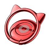 スマホリング 猫耳 薄型 バンカーリング 360度回転 ホールドリング iPhone Android多機種対応 (レッド)