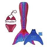 magictail Original Meerjungfrauenflossen zum Schwimmen für Kinder und Erwachsene mit Kostüm, Bikini, Flosse und Tasche Ruby L