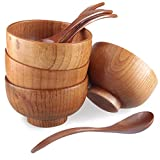 Handmade Wood Bowls, Jujube Wooden Japanese Bowls with Matching Spoon for Rice, Soup, Dip, Salad, Tea, Decoration 4 Sets (4 Bowls + 4 Spoons)
