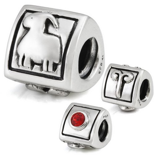 Aries, diseño de signo Beads–Cuenta para pulsera (Plata 925Ohm es compatible con pulseras