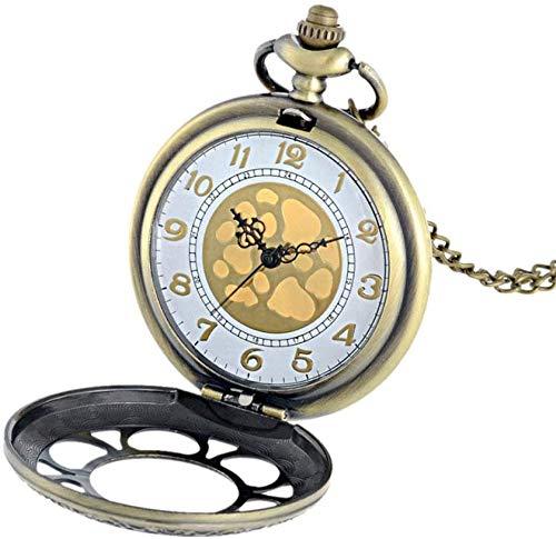 Pocket Horloge Gepersonaliseerde Antieke Gouden Wijzerplaat Bloem Brons Holle Pocket Horloge Quartz Gegraveerde Retro Hanger Pocket Horloge Ketting voor familie en vrienden Gift wxxdlooa Brons en wit
