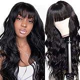 Flequillo Postizo Mujer Rizado Perfectos Humano no Lace Riza Pelos Natural Larga Mujer Pelucas Afro Human Hair Wigs with Bangs with PU Fake Scalp body wavy curly(22inch/55cm)