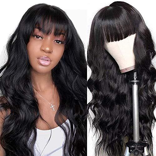 comprar pelucas mujer pelo natural rizado con flequillo en línea