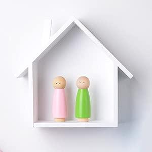 Child s House-Shaped Hanging Wall Shelf for Children s Bedroom  Living Room  Bedroom  white