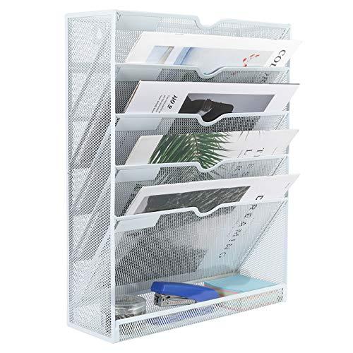 EasyPAG Hängeregal, A4, Netzstoff, für Wandordner, Zeitschriftenhalter, 6 Etagen, Weiß