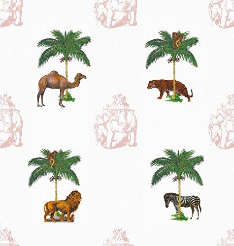 Vintage Tapete La Ménagerie mit wilden Tieren unter Palmen (blau) - Vliestapete Tiere - Retro Kolonial Wanddeko - GMM Wandtapete - Wand Dekoration (um Wände halb hoch zu tapezieren H: 1,5m B: 46.5cm)