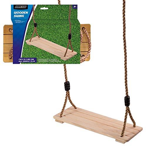 Alert Brettschaukel Kinder Schaukel Garten stabil Holz Natur Holzschaukel -75kg
