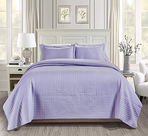 Chezmoi Collection 3-Piece Solid Modern Quilted Bedspread Coverlet Set (Queen, Lavender)