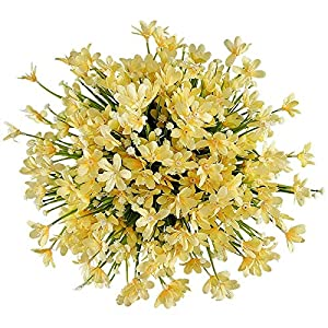 Facibom 8 Bundles Artificial Daffodils Flowers, Fake Artificial Greenery UV Resistant No Fade Faux Plastic Plants (Yellow)