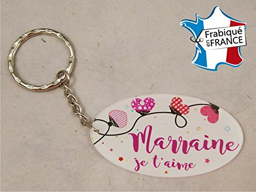 Porte Clef - Marraine je t'aime (Cadeau Parrain Marraine Baptême Communion Noël, annonce et demande Marraine)