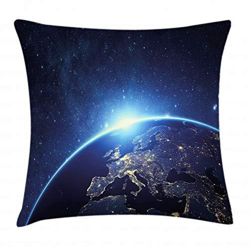 ABAKUHAUS Aarde Sierkussensloop, Planet van de Space, Decoratieve Vierkante Hoes voor Accent Kussen, 40 cm x 40 cm, Donkerblauw