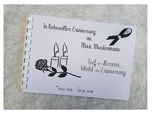 Kondolenz Buch Gästebuch mit Namen Trauer Abschied mit Namen Datum Spruch Din A5