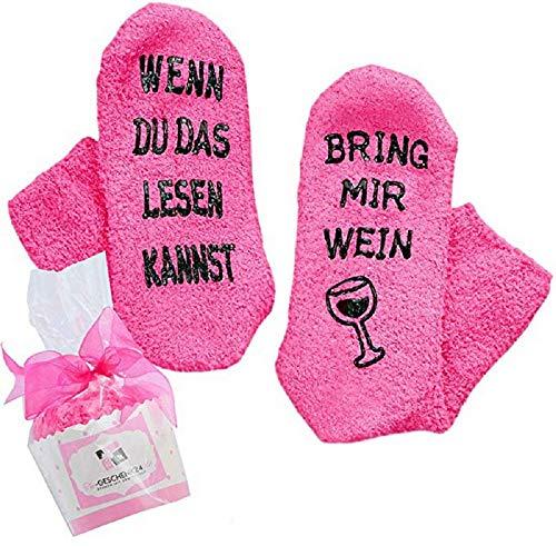 wenyujh Geschenk Unisex WENN DU DAS LESEN KANNST BRING MIR WEIN/KAFFEE Socken Geburtstags Geschenk für Frauen Herren Weihnachten Geburtstagsgeschenk (Rosa-Wein, One Size)