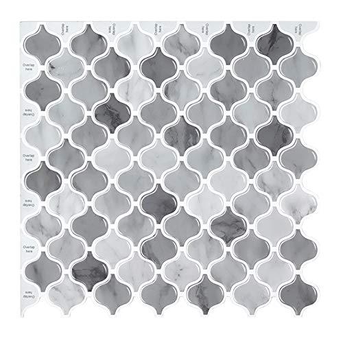 decalmile 10 3D Piezas Azulejos Adhesivos 30,5cm x 30,5cm Gris Arabesco Rombo Mármol Mosaico Pegatinas de Azulejos Autoadhesivo Cocina Baño Decoración