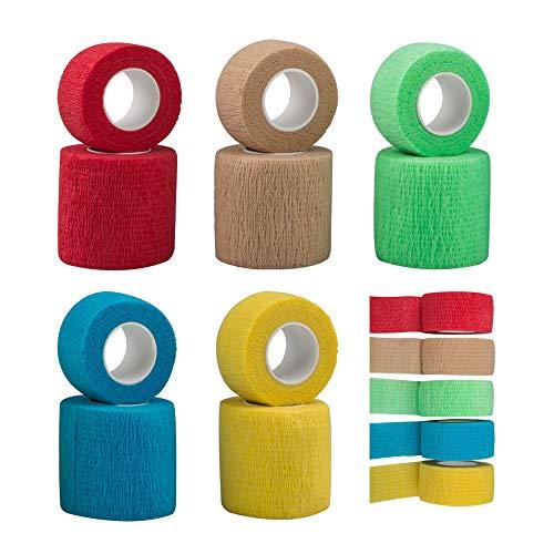 SourceTon 10 Stück Selbsthaftende Bandage, Verletzung Wrap Tape für Hunde Katzen, unterstützt Muskeln und Gelenke, klebt nicht am Haar, elastisch, atmungsaktiv, lindert Stress