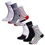 Premium Socks 6 Paar Extra Weite Damen BAMBUS Diabetikersocken Gesundheitssocken Socken ohne Gummibund und ohne Naht mit Komfortbund Softrand in Dunkelblau-Rot 39-42