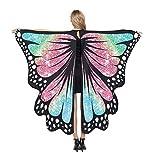 chaochao Chal de Alas Mariposa para Mujeres Accesorio para Cosplay Disfraz Halloween Fiesta Bufanfa Alas de Mariposa Multicolores (Arco Iris, 135cm*168cm)