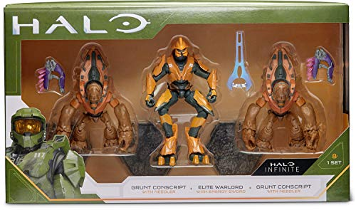 """HALO 4"""" Villain 3 Figure Pack – Elite Warlord and 2 Grunt Conscripts"""