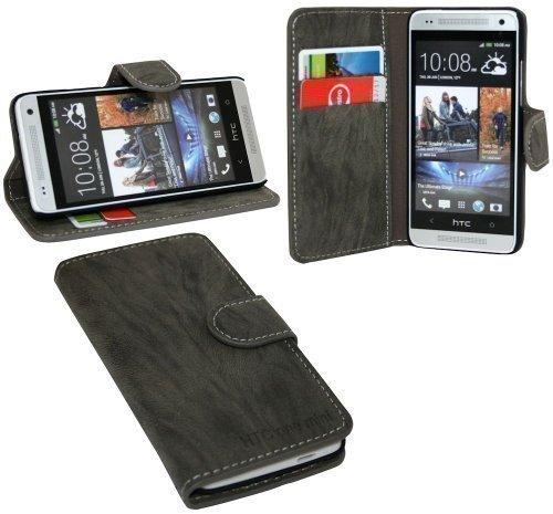 ENERGMiX Buchtasche Hülle kompatibel mit HTC One Mini (M4) Case Tasche Wallet BookStyle mit Standfunktion Anthrazit
