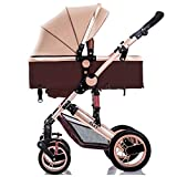 WMDXTM Baby-Kinderwagen for Neugeborene und Kleinkind - Cabrio Kinderwagen Kompakt Einzelkinderwagen-Kindersitz Spaziergänger Pram Spaziergänger hinzufügen Becherhalter Fußsack und Stroller Tray