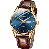OLEVS Men Watch Brown Leather Strap Large Blue Face Analog Quartz Classic Dress Date Luminous Waterproof Gents Wrist Watch