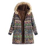 Cappotti Invernali da Donna - Donne Plus Size Giacche da Donna Caldo Outwear Bohemian Floreale Stampa Concappucciata Tasche Vintage Oversize Cappotto(Verde 7,2XL)