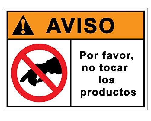 Señalización CoronaVirus | Cartel No Tocar Productos para Tiendas y Comercios por COVID-19 | Señal Corona Virus Autoinstalable | 21 x 30 cm | Descuentos por Cantidad