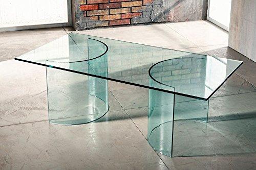 IMAGO FACTORY Phoenix salontafel van gebogen glas met transparante plaat
