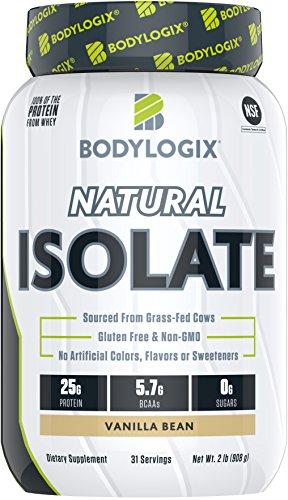 Bodylogix Natural Grass-Fed Whey Isolate Protein Powder, NSF Certified, Vanilla Bean, 2 Pound