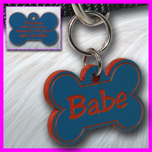 Personalized Custom Engraved Plastic Pet Dog ID Tag 2-sided Bone Blue/Red