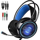 DLAND Cuffie da Gioco con Microfono e Luce LED Intercambiabile per Computer Portatile, Cellulare,...