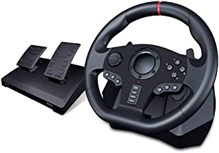 PC Racing Wheel, Universal USB Car Sim 270/900 Degree Race Steering Wheel with Pedals