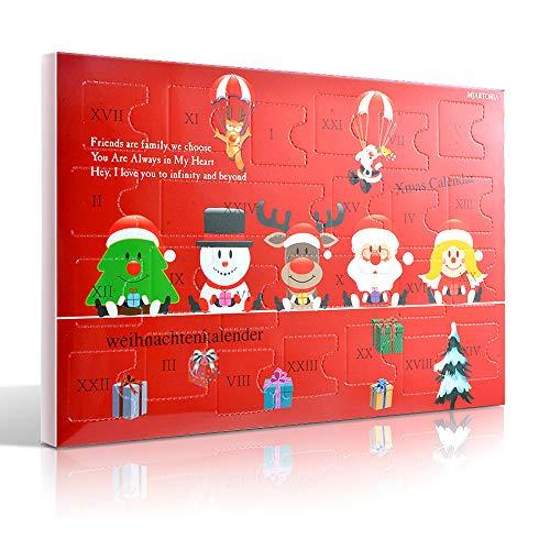 MJARTORIA Schmuck Adventskalender Weihnachtskalender 2019 Damen Kinder Mädchen Adventszeit mit 24 Überraschungen Xmas Modeschmuck Choker Kette Ohrring Armband Click Button Charms(Red)