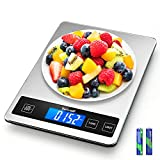 TICWELL Essential Food Scale 33lb Digital Kitchen Scale Weight Grams Oz for Cooking Baking Multifunction FoodScale1g Precise Graduation 5 Units LCD Display Screen Touch,Stainless Steel Tempered Glass