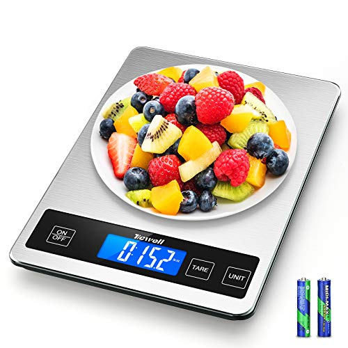TICWELL Food Scale 33lb Digital Kitchen Scale Weight Grams Oz for Cooking Baking Multifunction Food Scale1g Precise Graduation 5 Units LCD Display Screen Touch, Stainless Steel Tempered Glass