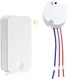 JJYHEHOT Wireless Wall Light Switch Kit Battery-Free(Self-Powered) RF Transmitter Remote Control Switch 1 Channel Relay Receiver for Lights Ceiling Fans Lighting Lamps Appliances On/off Toggle