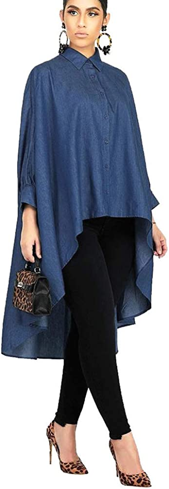 OLUOLIN Women Denim Oversized Long Sleeve Bodycon High Low Asymmetrical Button Down Blouse Top T Shirt Dress