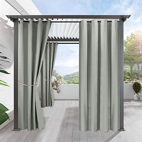 Outdoor Vorhang Blickdicht Wasserabweisend - Outdoor Gardine Vorhänge für Terrasse & Balkon Pavillon Strandhaus Sichtschutz Sonnenschutz Ösenschal, 2 Stücke ( Farbe : Grau , Größe : 134*210cm(W*L) )