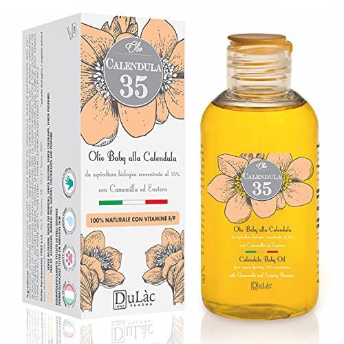 Dulàc Aceite de Caléndula 100% Natural, Aceite Bebe con Caléndula Orgánica, Vitamina E y Vitamina F, Ideal como Aceite Masaje Bebe también Apto para Adultos, Hecho en Italia