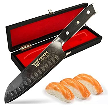 Tatara Santoku Knife Japanese Sushi Knife for Chefs 7 inch - VG10 Damascus with Case