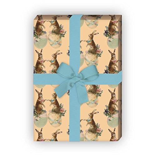 Romantisches Vintage Oster Geschenkpapier Set (4 Bogen), Dekorpapier mit Retro Hasen als edle Geschenkverpackung zur Geburt, Ostern, Geburtstag, Hochzeit, Weihnachten 32 x 48cm, beige
