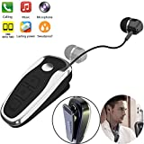 Bluetooth Headset V5.0 Wireless Retractable Bluetooth Earpiece Business Headphones Clip on Earbud Compatible with Samsung iPhone Huawei LG Smart Cell Phones