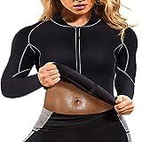 Ropa de Sauna para Hombres y Mujeres, Cremallera Faja Sauna Deportiva Camiseta Compresion Mangas Largas Trajes para Fitness Sudoración Fajas Hombre Reductora Adelgazante Neopreno